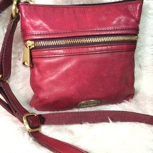 Fossil nice size leather crossbody purse
